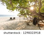picture of sunbeds in front of... | Shutterstock . vector #1298323918