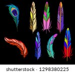 feathers embroidery set... | Shutterstock .eps vector #1298380225
