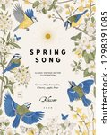 spring song. classis vintage... | Shutterstock .eps vector #1298391085