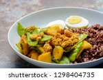 stir fry snow peas with pumpkin ... | Shutterstock . vector #1298404735
