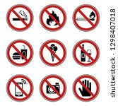 9 prohibition   warning signs   ... | Shutterstock .eps vector #1298407018