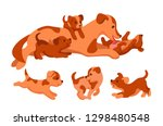 Stock vector mom dog with puppies puppies run play mother dog licks the puppy 1298480548