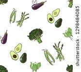 black and green vegetables.... | Shutterstock .eps vector #1298484085