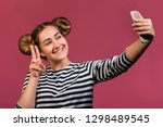 student hipster girl with funny ... | Shutterstock . vector #1298489545