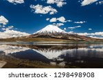 a volcano with snow in the... | Shutterstock . vector #1298498908