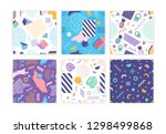 bundle of seamless patterns... | Shutterstock .eps vector #1298499868