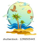 beach with palms  sea waves... | Shutterstock .eps vector #1298505445