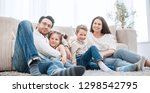 happy family rests in the... | Shutterstock . vector #1298542795