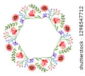 watercolor wreath. frame with... | Shutterstock . vector #1298547712