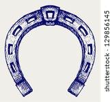 Stock vector horseshoe doodle style 129856145
