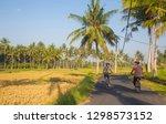 couple riding a bicycle through ... | Shutterstock . vector #1298573152