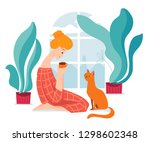 vector hygge illustration with... | Shutterstock .eps vector #1298602348
