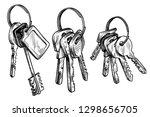 sketch hand drawn bunch of keys ... | Shutterstock .eps vector #1298656705