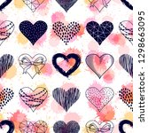 seamless pattern with hearts.... | Shutterstock .eps vector #1298663095