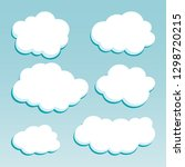 cartoon white clouds on blue...   Shutterstock . vector #1298720215