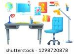 workplace room interior design... | Shutterstock .eps vector #1298720878