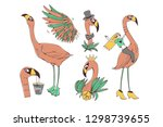 set with a flamingo. collection ...   Shutterstock .eps vector #1298739655