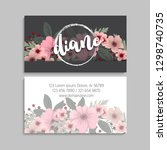 floral business card template... | Shutterstock .eps vector #1298740735