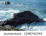 waves splashing against the... | Shutterstock . vector #1298742295
