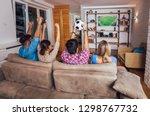happy friends or football fans...   Shutterstock . vector #1298767732