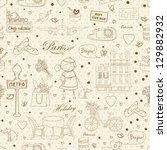 paris travel seamless pattern ... | Shutterstock . vector #129882932