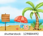 illustration of a pig near the... | Shutterstock . vector #129884492