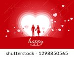 lover couple holding hand with... | Shutterstock .eps vector #1298850565