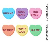 rainbow candy hearts collection ... | Shutterstock .eps vector #1298853658