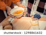 hot meal. bowl of tasty hot... | Shutterstock . vector #1298861632