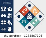 barbell icon set. 13 filled...   Shutterstock .eps vector #1298867305