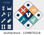cutter icon set. 13 filled... | Shutterstock .eps vector #1298870218