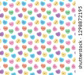 candy hearts seamless pattern   ... | Shutterstock .eps vector #1298872195