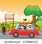 illustration of a girl driving... | Shutterstock . vector #129888122