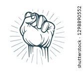 fist. raised fist hand drawn...   Shutterstock .eps vector #1298890552