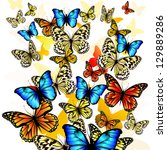 flying butterflies with hearts... | Shutterstock .eps vector #129889286