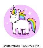 magic unicorn on a purple... | Shutterstock .eps vector #1298921245