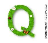 grass letter q on white...   Shutterstock .eps vector #129892862