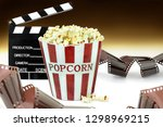 popcorn  movie clapper and film ... | Shutterstock . vector #1298969215