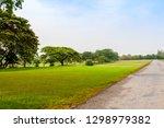 beautiful green park scene in... | Shutterstock . vector #1298979382