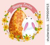 cute rabbit with egg decoration ... | Shutterstock .eps vector #1299004915