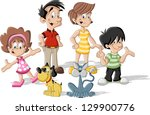 colorful cute happy cartoon... | Shutterstock .eps vector #129900776