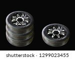 four car wheel rubber with... | Shutterstock . vector #1299023455
