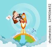 businessman and women riding a... | Shutterstock .eps vector #1299036652