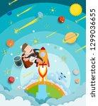 businessman and women riding a... | Shutterstock .eps vector #1299036655