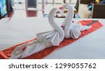 beautiful swans made from white ... | Shutterstock . vector #1299055762