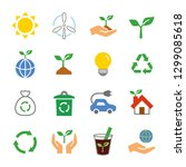 ecology eco icon set | Shutterstock .eps vector #1299085618