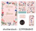 cute sweet pink botanical... | Shutterstock .eps vector #1299086845