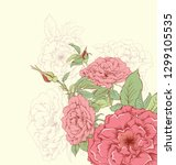 hand drawn floral background... | Shutterstock . vector #1299105535