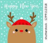 happy new year. raindeer deer... | Shutterstock . vector #1299112318