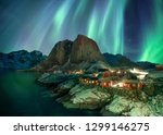 northern lights over fishing... | Shutterstock . vector #1299146275